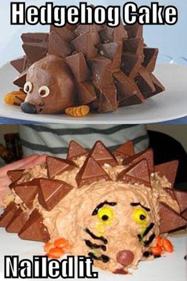 This hedgehog cake looks more frightened than cute. #pinterestfail