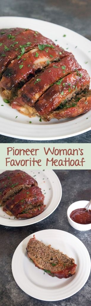 The Pioneer Woman's Favorite Meatloaf -- Meatloaf doesn't get a lot of love. But you'll love this one... It's covered in bacon and a delicious brown sugar ketchup sauce! #meatloaf #dinner | wearenotmartha.com