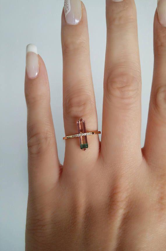 Tourmaline Ring Unique Engagement Ring Gold Tourmaline Ring