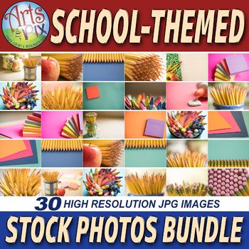 """Arts & Pix offers you this artistically-styled and colorful & """"School-Themed"""" Stock Photos BUNDLE. This high resolution (7952 x 5304 pixels) stock photography BUNDLE features 30 large SCHOOL-Themed jpg images of Pencils, Erasers, Colored Paper, Crayons, Glue, Apples & Sticky Notes."""