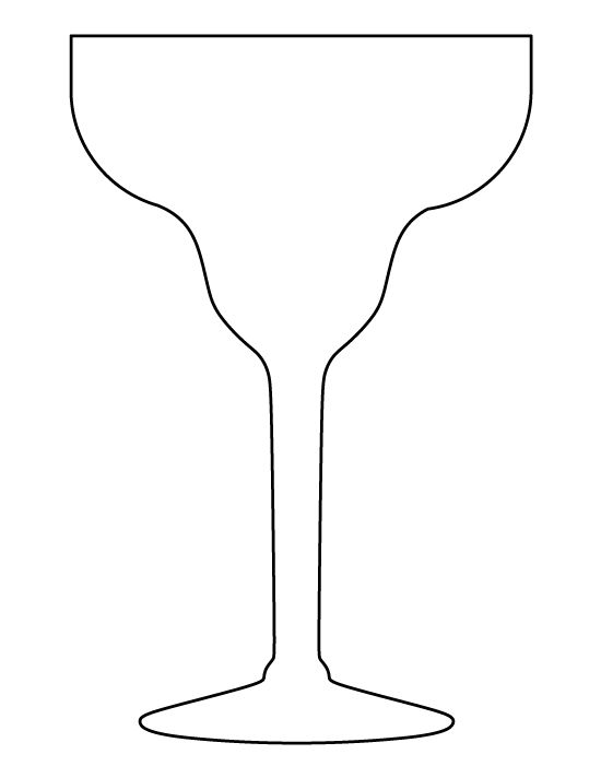 Margarita glass pattern. Use the printable outline for crafts, creating stencils, scrapbooking, and more. Free PDF template to download and print at http://patternuniverse.com/download/margarita-glass-pattern/