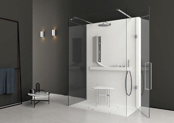 Cabinas De Ducha Kos: ducha de mano, una banqueta para sentarse, estante, secador para el
