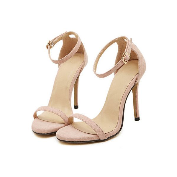 SheIn(sheinside) Nude Stiletto High Heel Ankle Strap Sandals (€29) ❤ liked on Polyvore featuring shoes, sandals, heels, sapatos, zapatos, nude, ankle strap sandals, high heel sandals, heels stilettos and patent leather shoes
