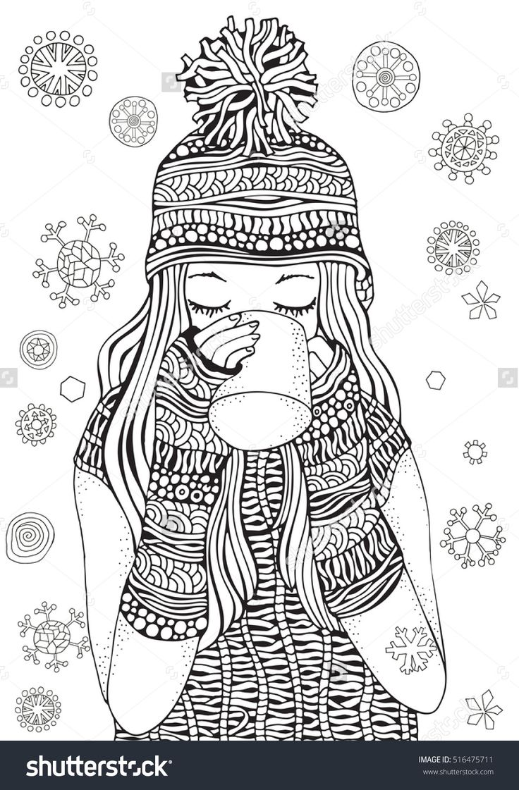Colouring in pages for girls butterflies - Winter Girl And Gifts Winter Snowflakes Adult Coloring Book Page Hand Drawn Vector