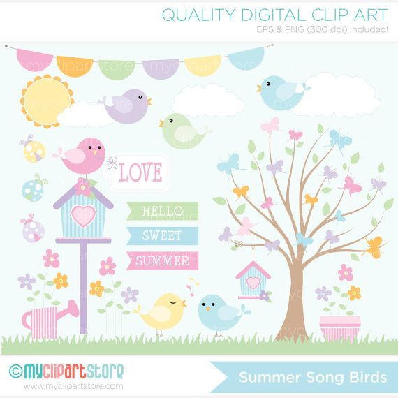 Summer Song Birds Clip Art / Digital Clipart - Instant Download