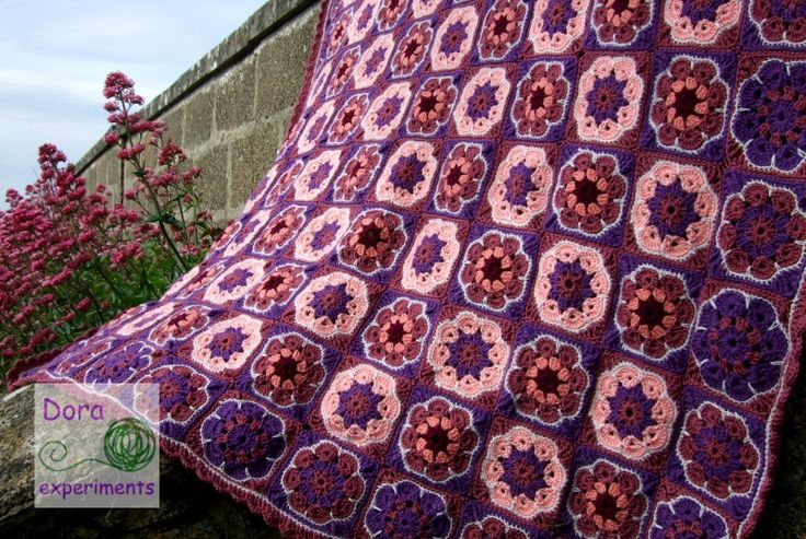 koc, blanket, crochet, szydełko, afrykański kwiat, African Flower, www.doraexperiments.blogspot.com