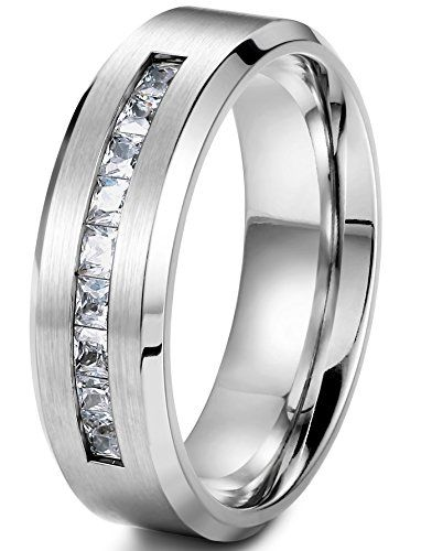 Jstyle Jewelry 8MM Titanium Rings for Men Wedding Engagement Rings Promise Size 10