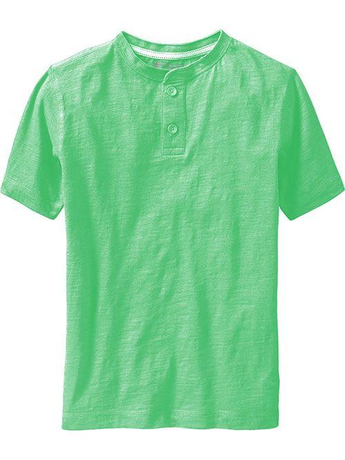 Short-Sleeve Slub-Knit Henleys Boys, 100% organic cotton