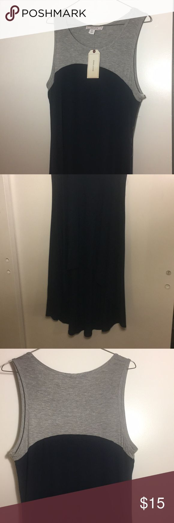 Adam Lavigne Summer/Fall dress This Two toned dress with light gray and navy blue is perfect for Summer and Fall styles. It's a high-low dress that pairs perfectly with a leather blazer and shoes or a cute pair of sandals. Adam Levine Collection Dresses High Low