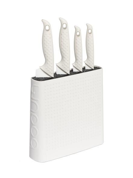 Instant kitchen whiteners to keep on your counter. Knife block: Bistro knife block with four ceramic knives, $140, bodum.com