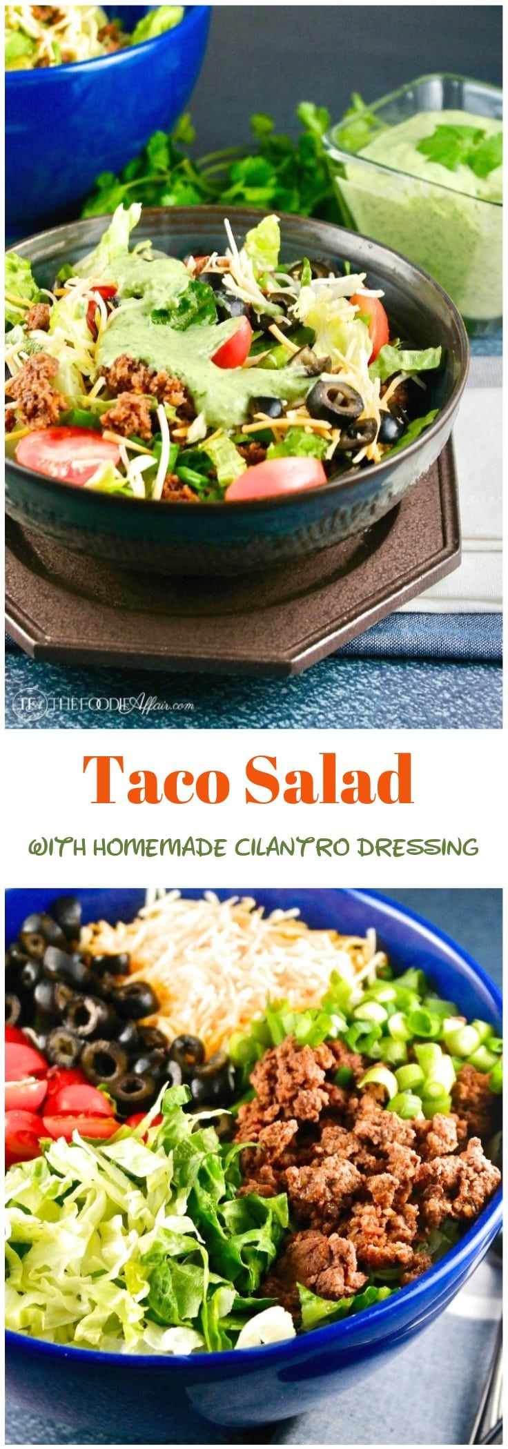 Taco salad with seasoned ground beef and all your favorite toppings served with an easy homemade creamy cilantro dressing. Enjoy as a main meal at your next Fiesta!