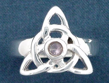 Claddagh Ring Amethyst Silver Celtic Triquetra
