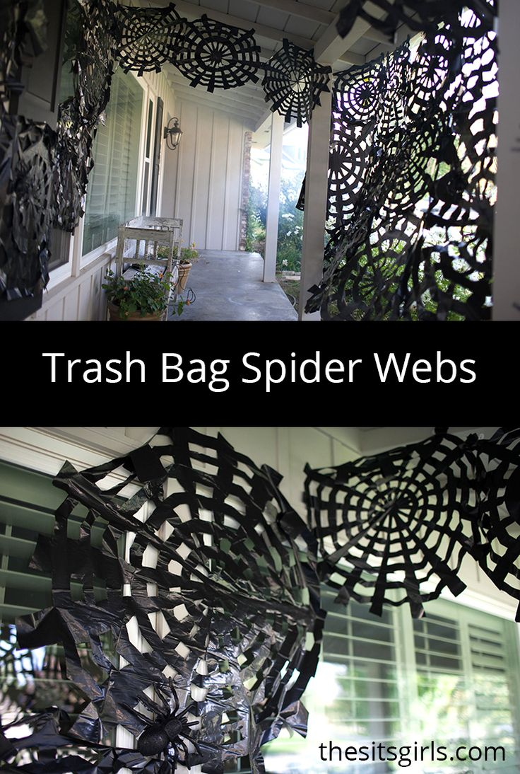 You can use trash bags to make amazing Halloween decor! Trash bag spider webs are a fun and easy project. Cover your porch in spooky spider webs with this easy tutorial (step by step instructions and video tutorial).