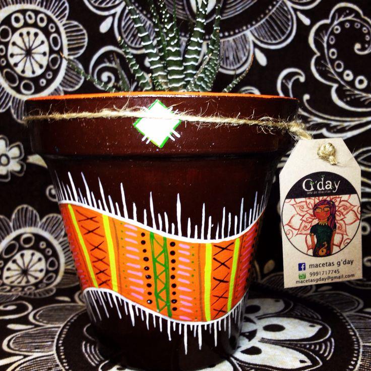 Macetas de barro pintadas a mano con o sin planta - Macetones de barro ...