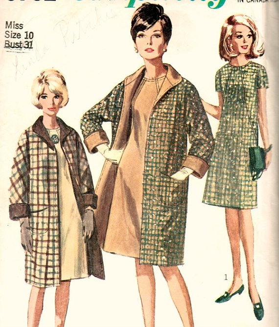 60s dress and coat pattern dress suit with seaming detail Simplicity 6732 Bust 31 by JennieSueVintage, $6.00