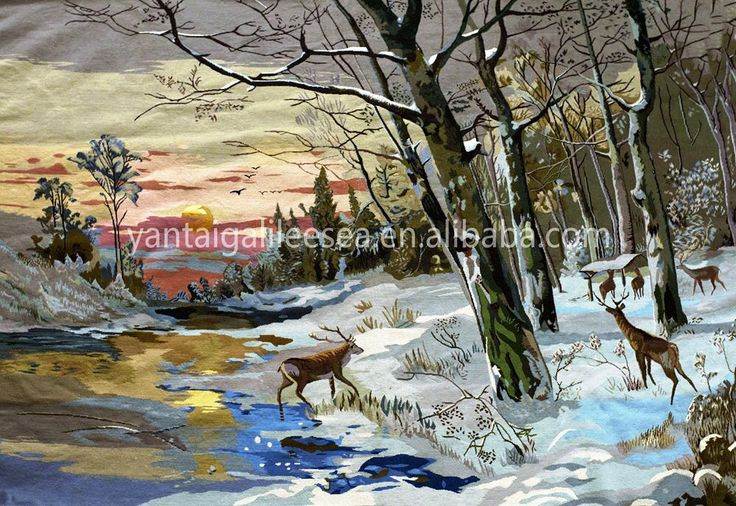 Yantai stunning hand stitched needlework snow deer scenery wall embroidered tapestry needlepoint woolwork wall hanging craft