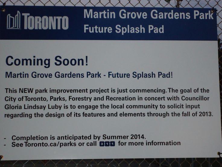 Splash pad coming to Martingrove Gardens Park 2014!!!