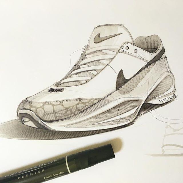 footwear sketch #kickstagram #marker #prismacolor #drawing #nike #illustration…