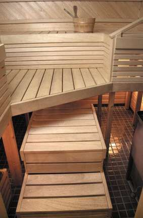 ThermoWood paneling in sauna,