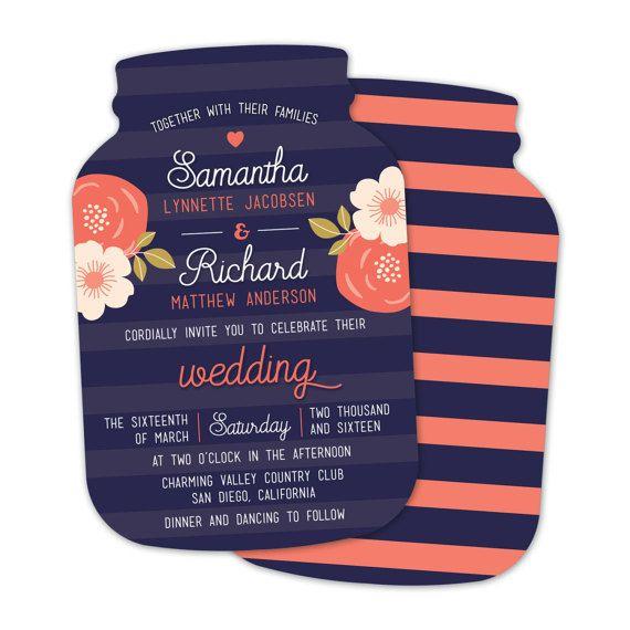Mason Jar Wedding Invitations by LittleBeesGraphics