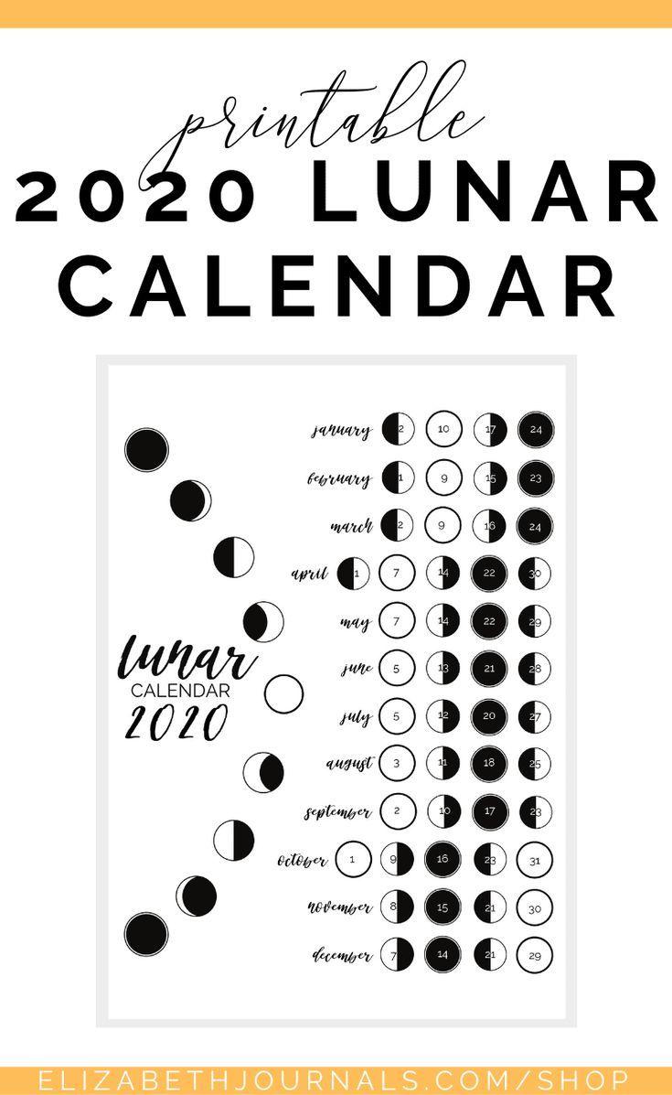 2021 Lunar Calendar In 2020 Journal Printables Lunar Calendar Moon Phase Calendar