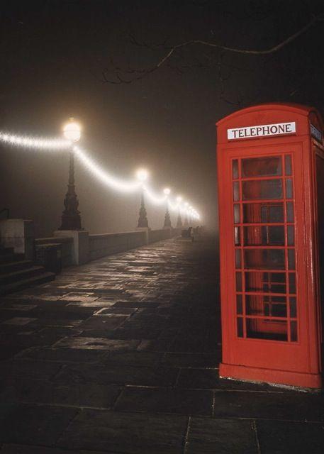 Phone Box on the Embankment, London. So atmospheric !