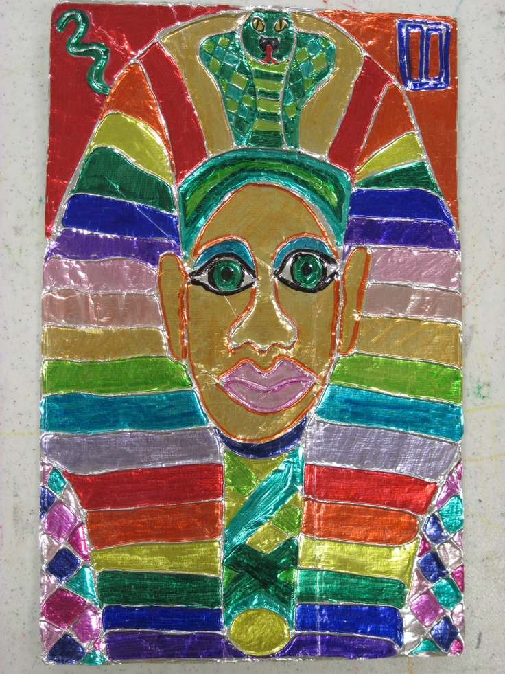 Foil King Tut Colored with Sharpie: Kids draw Tut on cardboard, glue white tatting string on all lines, cover with heavy duty foil and burnish with Kleenex, color with Sharpie. Mine's supercolorful because I wanted to show what each color looked like!