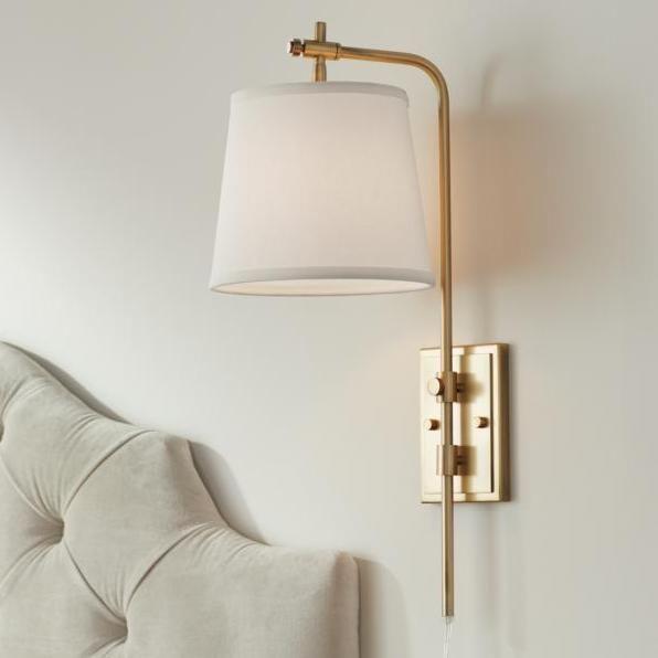 Seline Warm Gold Adjustable Plug In Wall Lamp Plug In Wall Lamp Plug In Wall Sconce Wall Sconces Bedroom Wall mounted plug in light