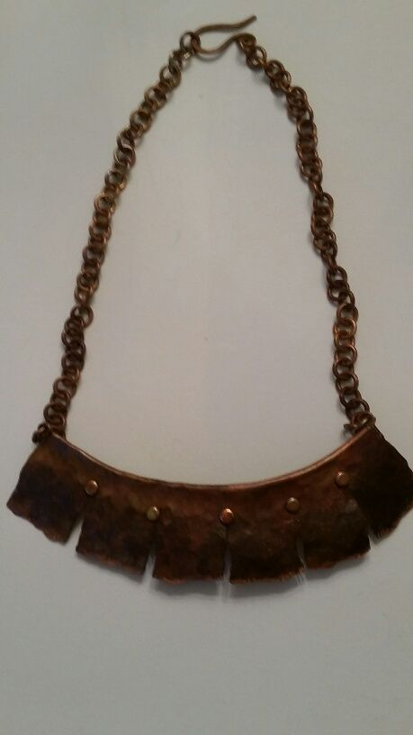 Foldformed and Rivetted Copper Necklace with handmade chain