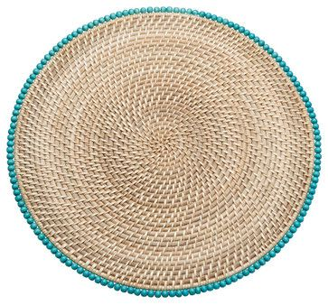 Round Rattan Placemats with Wood Beads, Set of 2 beach-style-placemats