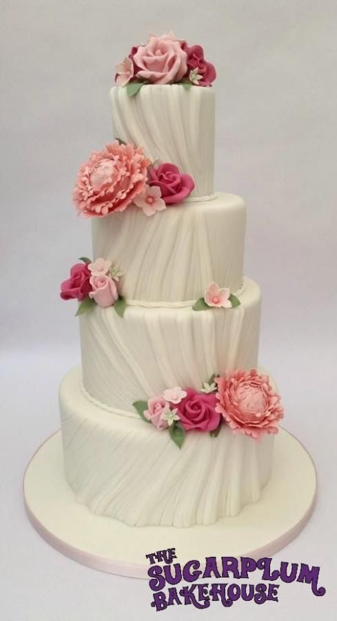 Peony & Rose 4 Tier Ruched Wedding Cake - Cake by Sam Harrison