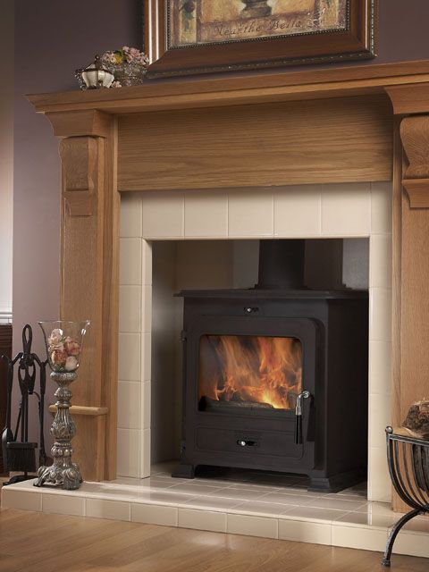 tile woodstove wood fire surround