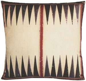 Geometric and tribal and neutral all at the same time ...    kevin o'brien backgammon pillow