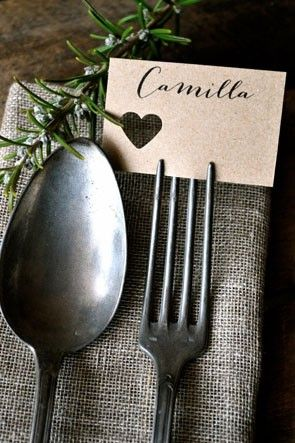 fork tine place card | http://www.mywedding.com/articles/wedding-place-cards-adding-tiny-details-to-your-tables/