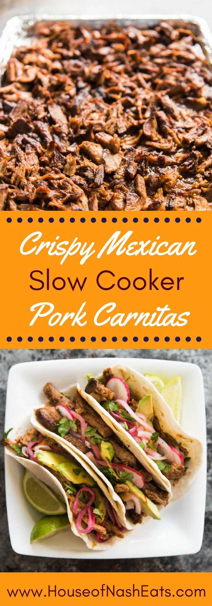 """These Crispy Mexican Slow Cooker Pork Carnitas are the best, easiest carnitas you will ever make!  Tender, juicy shredded pork, filled with flavor and delicious crispy, caramelized """"burnt ends"""" achieved by popping the shredded pork under the broiler, this is the perfect recipe for parties and large groups, and amazing in tacos, nachos, salads and burritos!"""