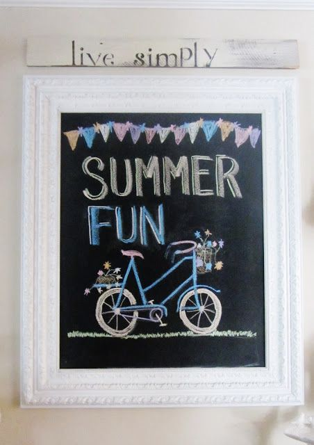 Junk Chic Cottage Cute Summer Chalkboard Home Decor