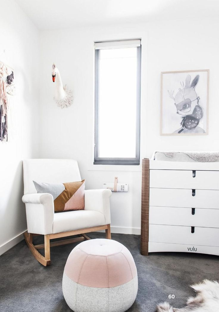 Beautiful minimalist nursery in pink and white Liapela.com