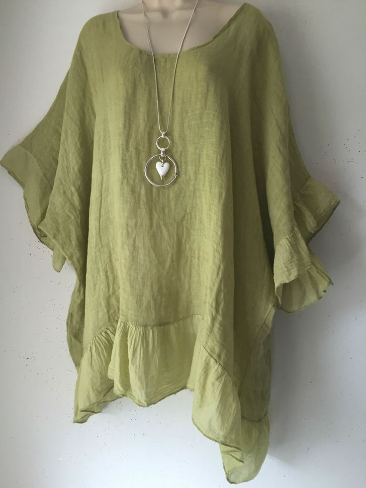 Lagenlook-Fine 100%  Hessian Linen Tunic/Smock top -Plus size-L-XL  Lime Green #MadeinItaly