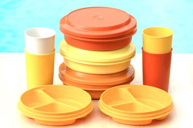 Lot de vaisselle pour pique nique Tupperware Années 70 - Vintage