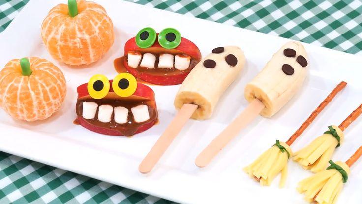 Aprende con este vídeo a cómo hacer 4 tipos de snacks o botanas muy fáciles y rápidas para halloween. Son muy sencillos y algunos tienen un aspecto horripilante jajaja Podrás hacer una especie de calabaza con una mandarina, boca monstruosa con manzana, fantasmas con un plátano y escobas de bruja con queso.