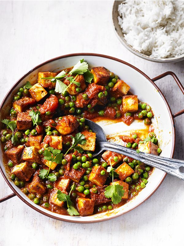 Mutter paneer is a traditional north Indian curry. The texture of fresh peas stands up well against the paneer, but frozen is fine too. This can be ready in just 30 minutes, and you won't feel like you're missing out, even though it's veggie. Serve it as a side curry with some naan or rice.