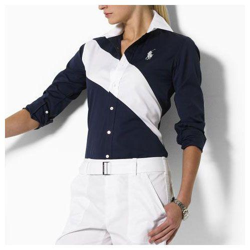 Ralph Lauren Coton Shirt Femme marine blanc