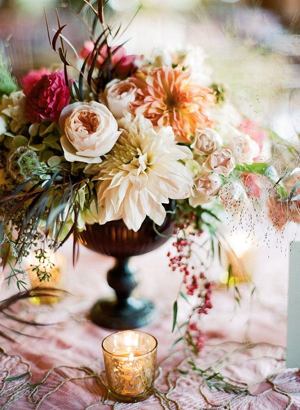 Vintage style Autumn Fall Wedding floral table decoration