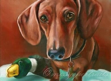 Well, Reggie DOES love his ducky toy! Dachshund with duck painting