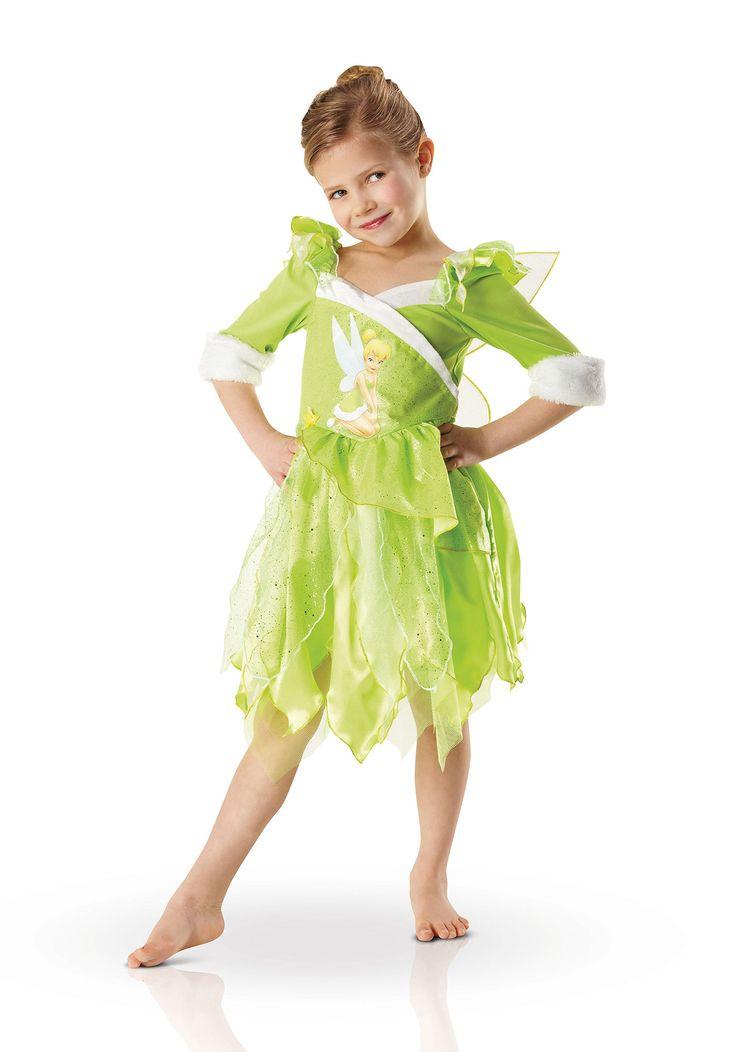 Disfraz de lujo Campanilla invierno en Wonderland™ para niña: Este disfraz de Campanilla para niña está compuesto por un vestido y un par de alas. El vestido es de manga larga con puntilla en las extremidades. Es de color verde con efecto satinado...