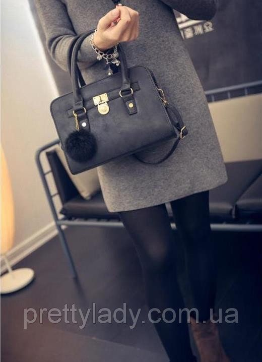Женская сумка с замочком и меховым брелком в стиле Michael Kors (Майкл Корс) черная - Pretty Lady в Каменском