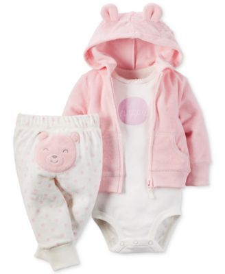 Carter's brings baby girl super-cute, cheerful style with this soft and comfortable three-piece set, featuring a terry hoodie, graphic bodysuit and applique pants. | Hoodie: cotton/polyester; bodysuit