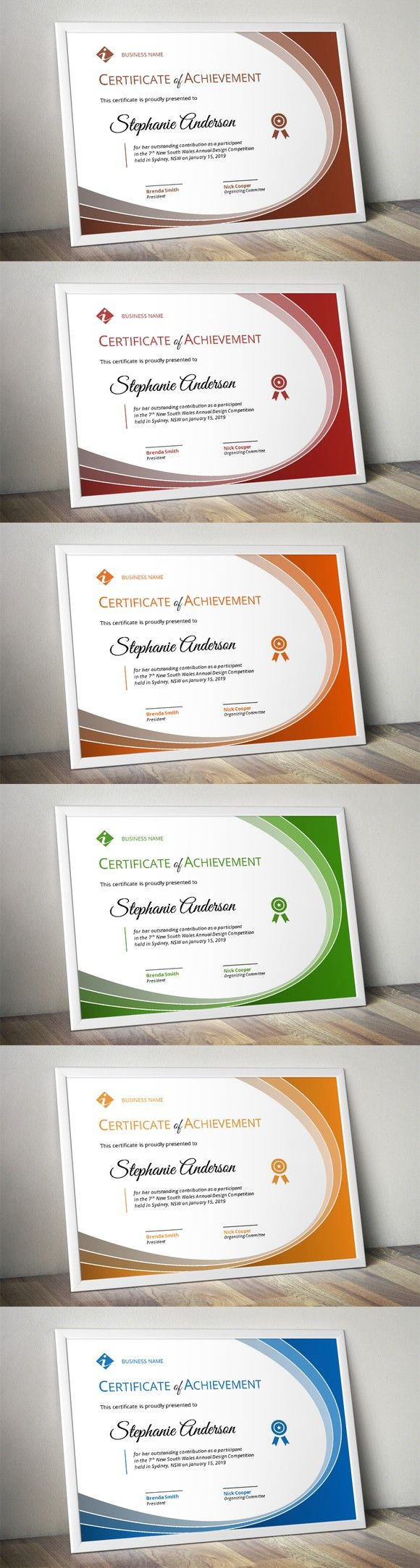 Curve modern certificate. Stationery Templates. $6.00