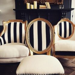 The striped fabric marry all the chair styles together