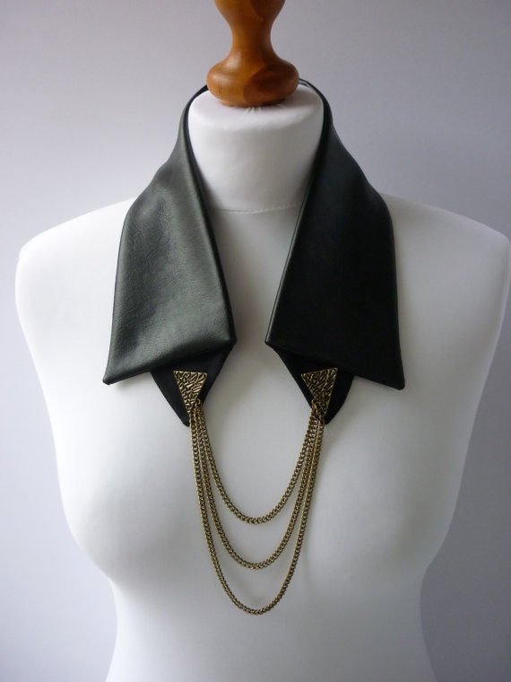 Womans black faux leather detachable collar necklace with antique gold collar tips and chains, holiday season party fashion accessory. £27.00, via Etsy.